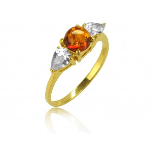 Pierścionek złoty z naturalnym bursztynem i kryształkami Swarovskiego