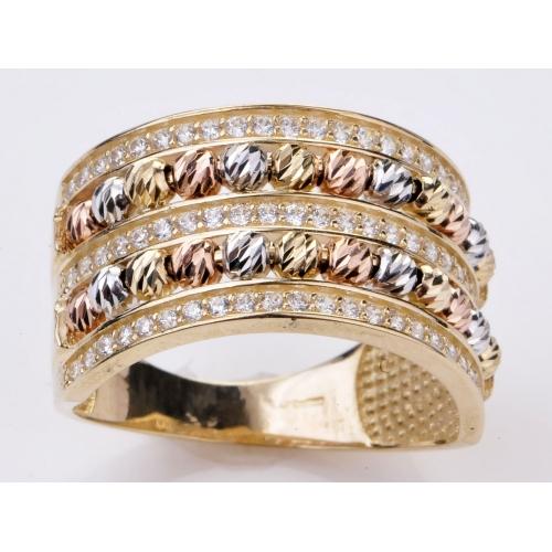 Złoty pierścionek z cyrkoniami i trójkolorowym złotem