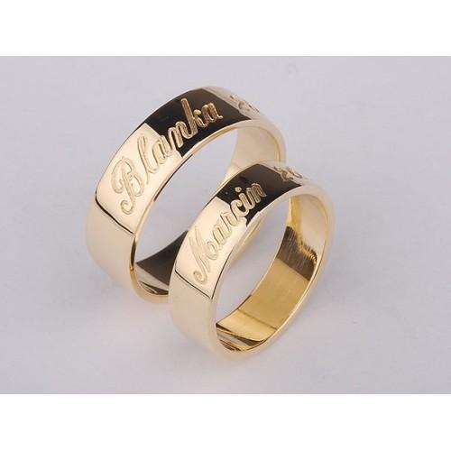 Obrączki ślubne złote z grawerem na zewnątrz, kolor złota do wyboru biały lub żółty