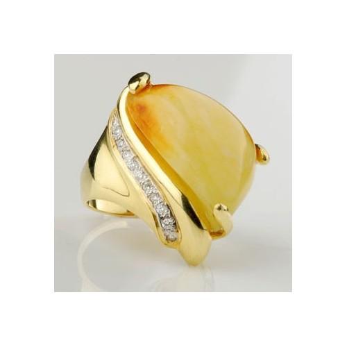 Pierścionek złoty z brylantami i bursztynem