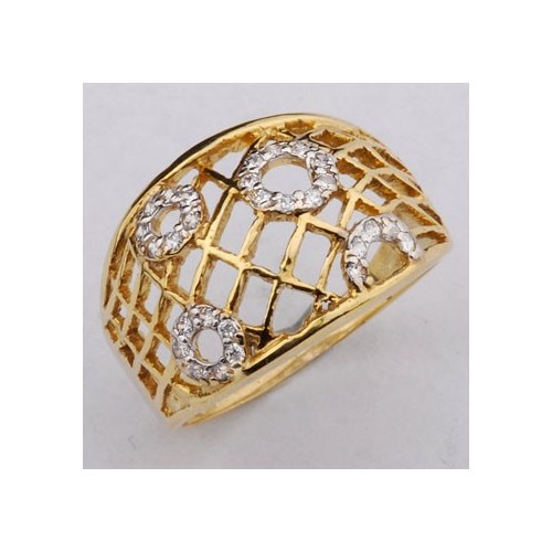Pierścionek złoty z cyrkoniami, szeroki, ażurowy