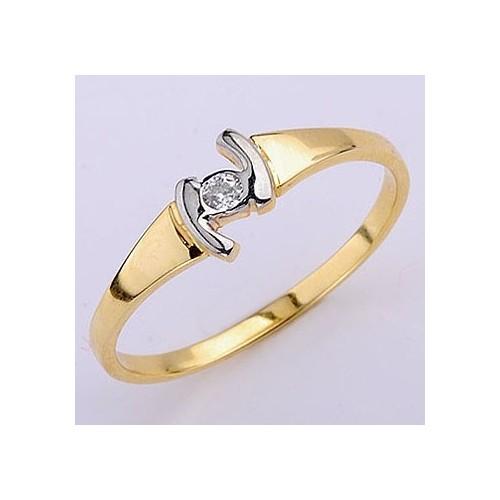 Pierścionek złoty z cyrkonią, na zaręczyny
