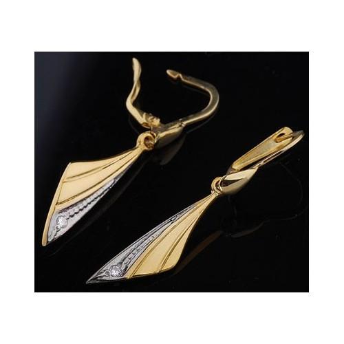 Kolczyki złote, wiszące z cyrkoniami