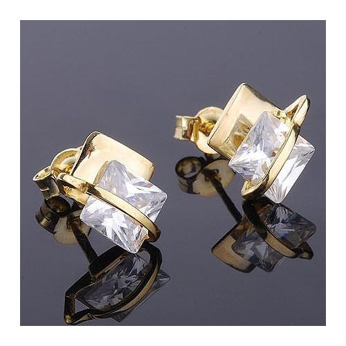 Kolczyki złote z kwadratowymi cyrkoniami