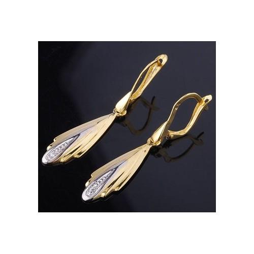 Kolczyki złote wiszące z cyrkoniami Swarovski