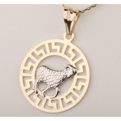 Złoty znak zodiaku BARAN w greckim wzorze