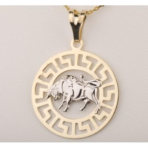 Złoty znak zodiaku BYK w greckim wzorze