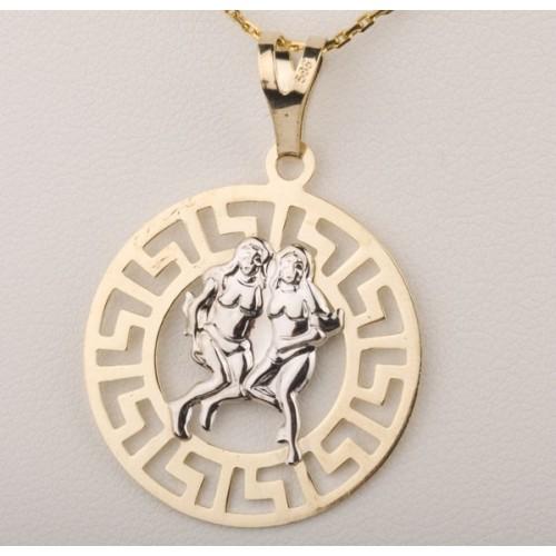 Złoty znak zodiaku BLIŹNIĘTA w greckim wzorze