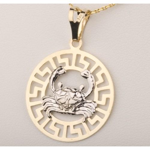 Złoty znak zodiaku RAK w greckim wzorze