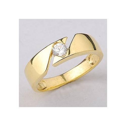 Pierścionek złoty jak obrączka z cyrkonią Swarovski