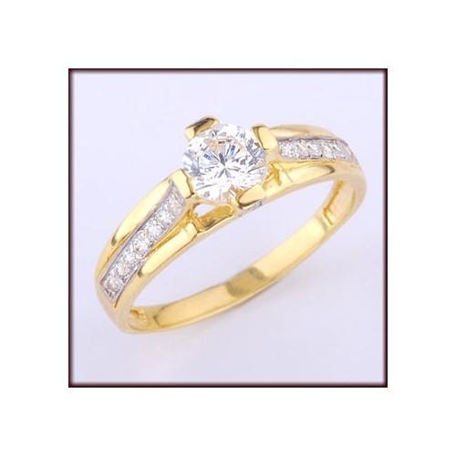 Pierścionek złoty zaręczynowy z cyrkoniami