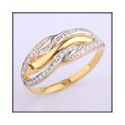 Pierścionek złoty z cyrkoniami Swarovski