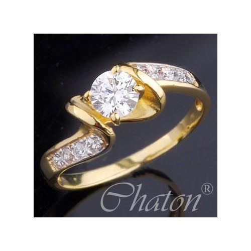 Pierścionek złoty z cyrkoniami Swarovski na zaręczyny! Niesamowity!