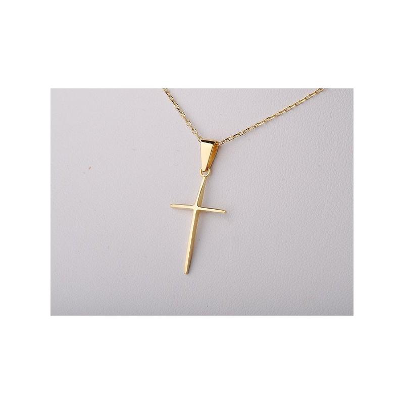 Złoty krzyżyk gładki i delikatny