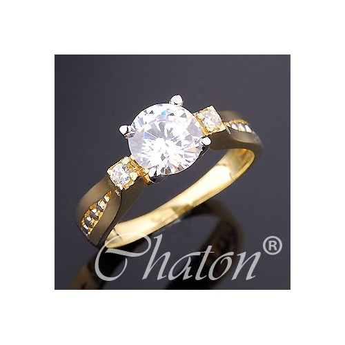 Pierścionek złoty z cyrkoniami na zaręczyny - piękny wzór