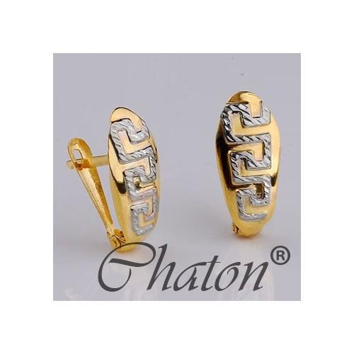 Kolczyki złote z greckim meandrem, dwukolorowe