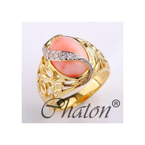 Pierścionek złoty z Koralem naturalnym i cyrkoniami