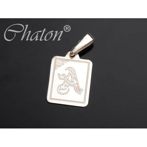 Wisiorek srebrny Literka na blaszce - do wyboru czcionka