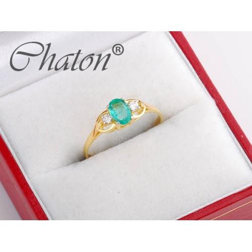 Złoty pierścionek z brylantami i szmaragdem (lub szafirem, lub topazem)