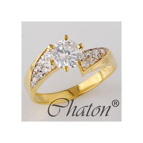 Pierścionek złoty zaręczynowy z cyrkoniami Swarovski