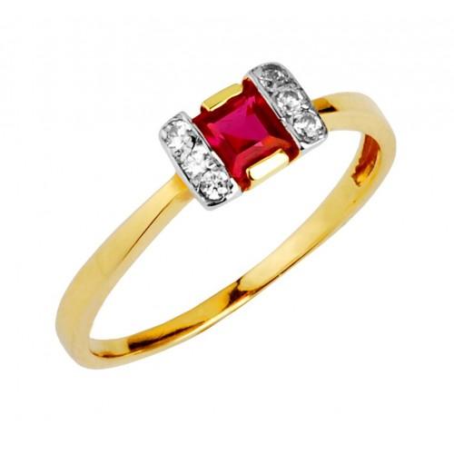 Pierścionek Złoty z Rubinem i cyrkoniami Swarovski
