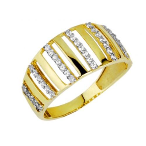 Pierścionek Złoty Szeroki wysadzany cyrkoniami Swarovski