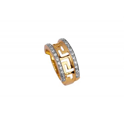 Pierścionek złoty szeroki z greckim meandrem