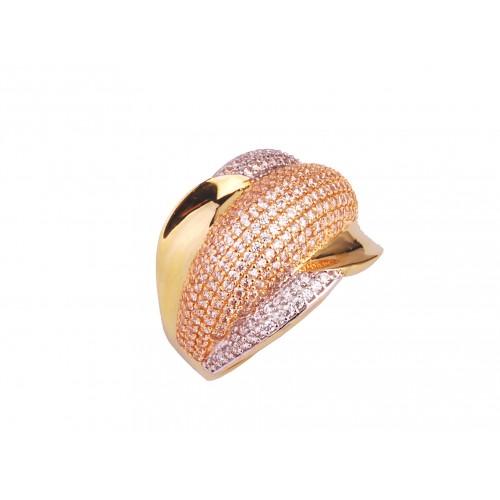 Pierścionek złoty obrączkowy z cyrkoniami
